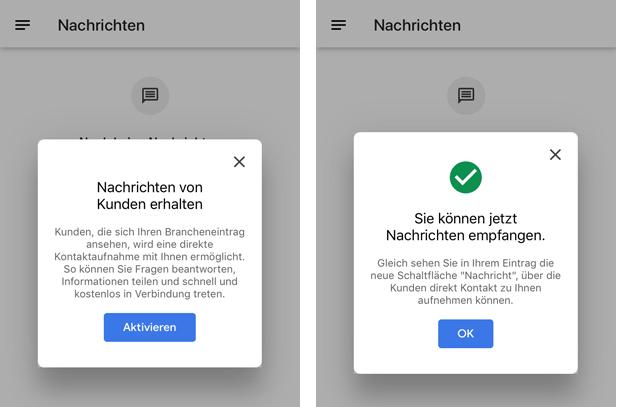 WebMen Google My Business Nachrichten freischalten